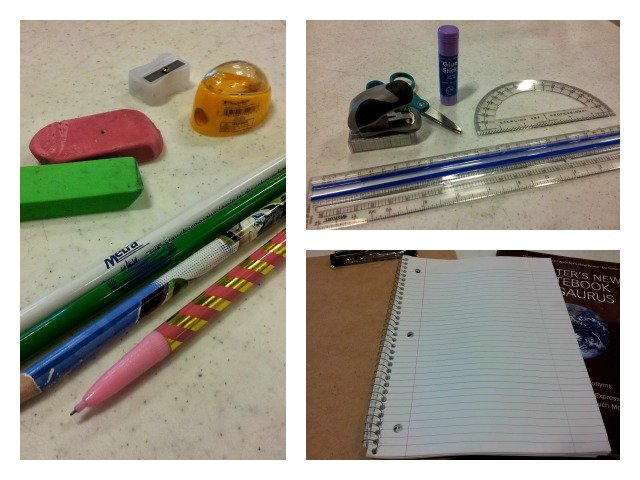 Supplies needed for the homework kit