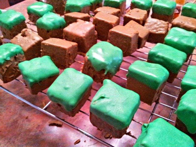 Completed Minecraft Cake Squares