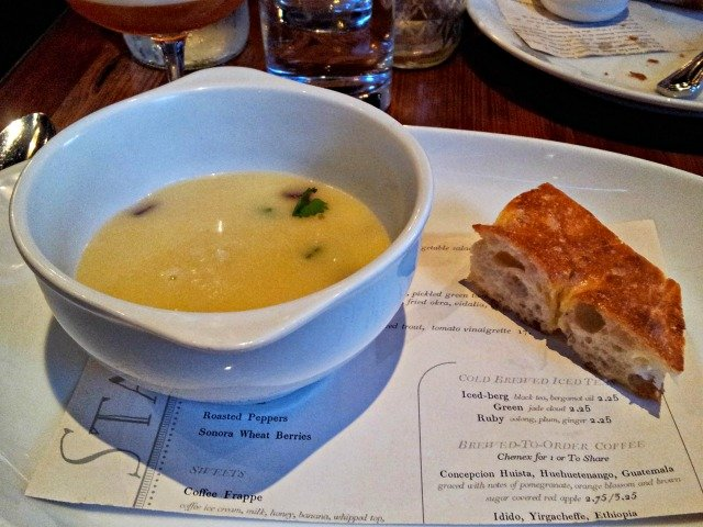 Bowl of soup out at dinner