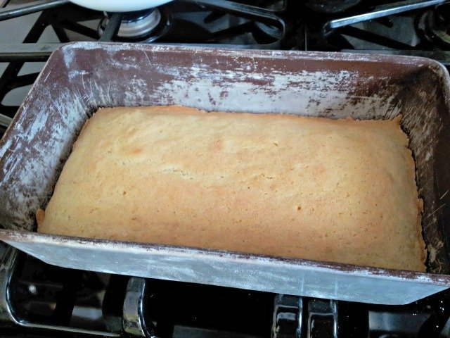 perfectly baked cake is golden with the edges just pulling away from the pan