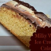 Slice of Milky Way Ice Cream cake ready to eat