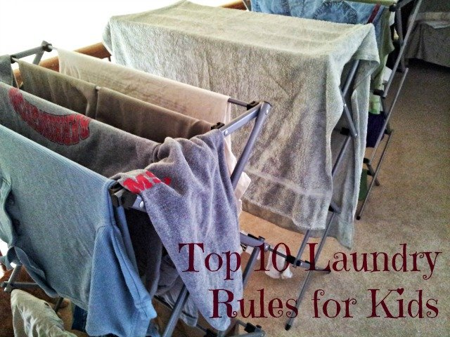 Laundry rules for kids when line drying