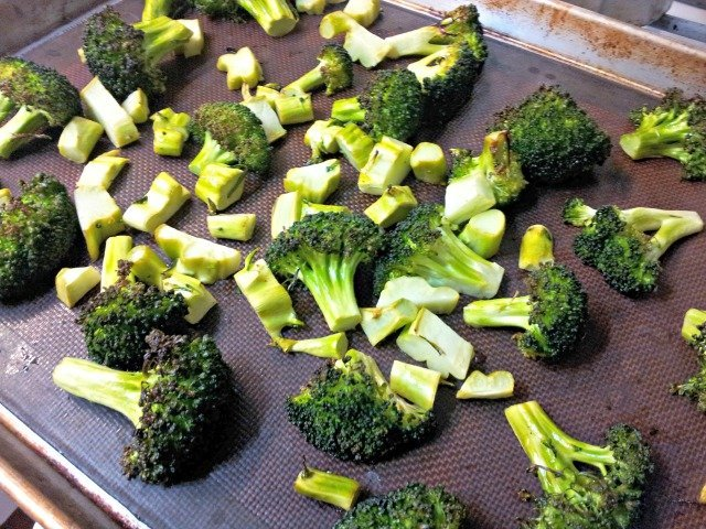 Broccoli ready to roast in the oven