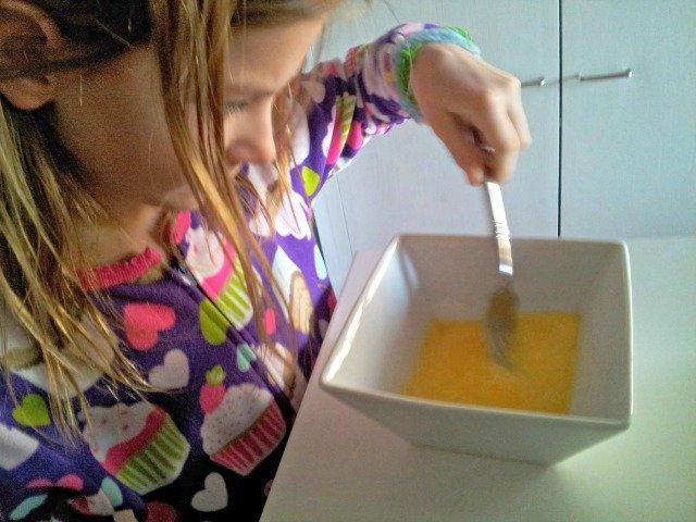 Beating eggs for baking