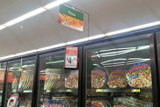 Walmart offers lots of pizza on Rollback like DiGiorno for game day #shop