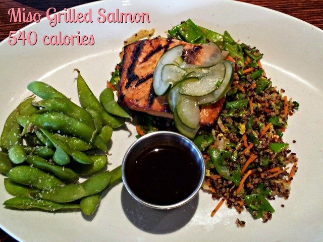 Houlihan's lighter fare menu includes a miso grilled salmon at 540 calories