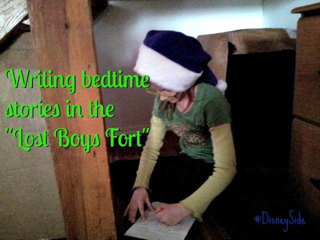 Writing bedtime stories in the Lost Boys Fort at the #DisneySide Party