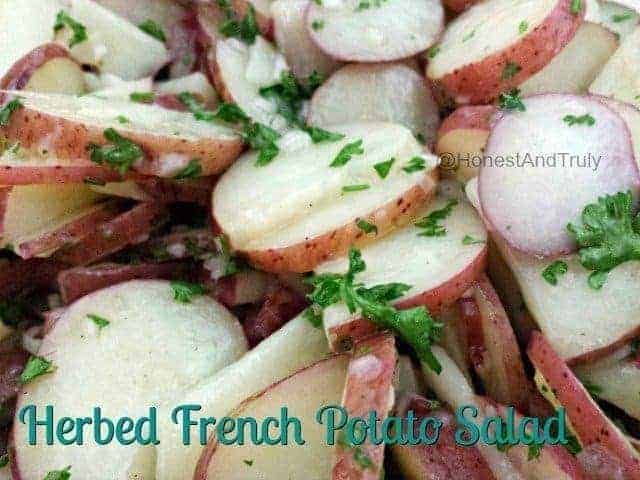 Easy recipe for herbed French potato salad with no mayonnaise - gluten free and vegan