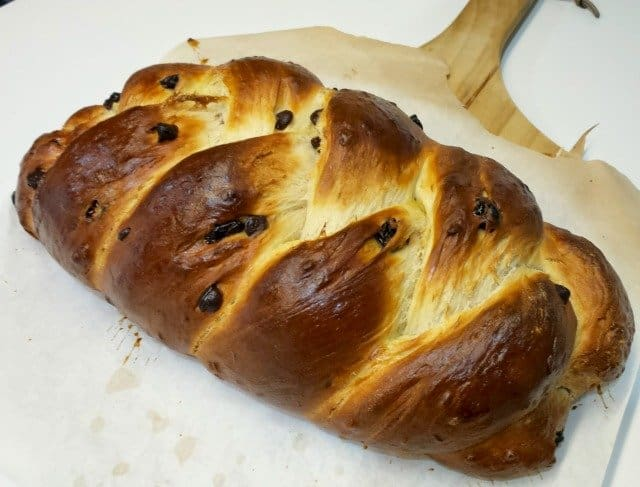 Gorgeous loaf of chocolate cherry challah