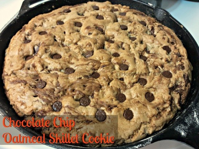 Chocolate Chip Oatmeal Skillet cookie recipe - made in the skillet, so no extra bowls to wash!