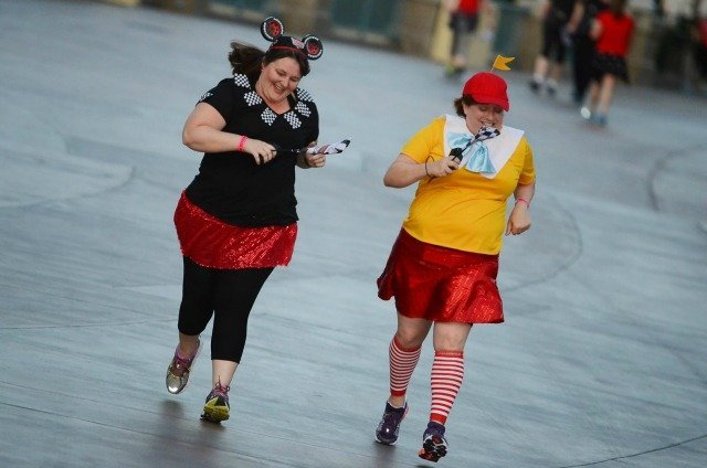 Disney Fun run costumes Tweedle Dee and Cars theme at the Disney Social Media Moms conference