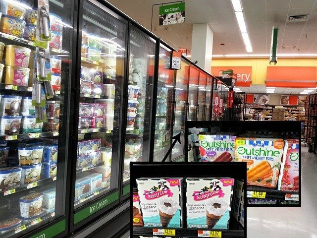 Outshine Fruit and Veggie Bars and Skinny Cow Chocolate Mint Ganache Cones are easily found in Walmart's Ice Cream section #NewFavorites #shop