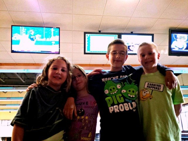 Hanging out having fun at the bowling alley
