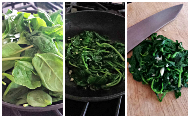 Prepping your spinach for the calzones, and it will be amazing how much it wilts