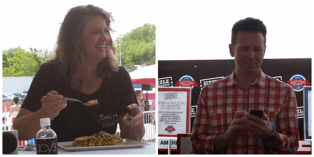 The Macy's Grilling Guru sizzling showdown was a success with judge Chef Michelle Bernstein and emcee Steve Delinsky, host of The Hungry Hound