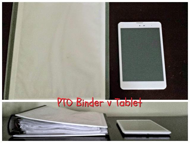 Comparison of size and weight of PTO binder v tablet