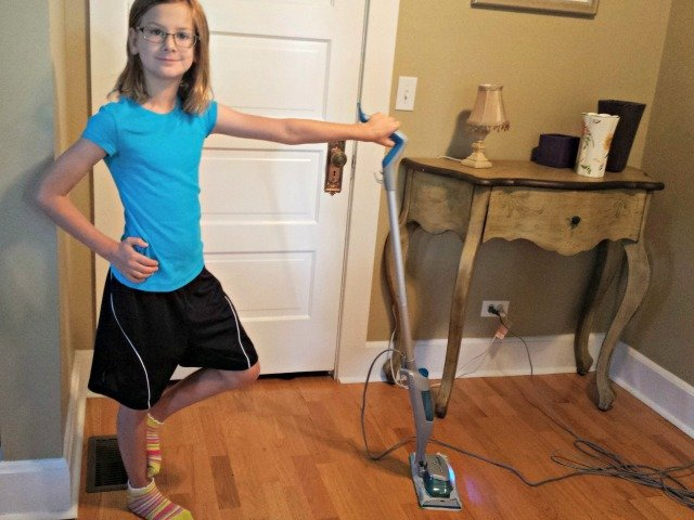 Having fun with the Swiffer steam boost mop