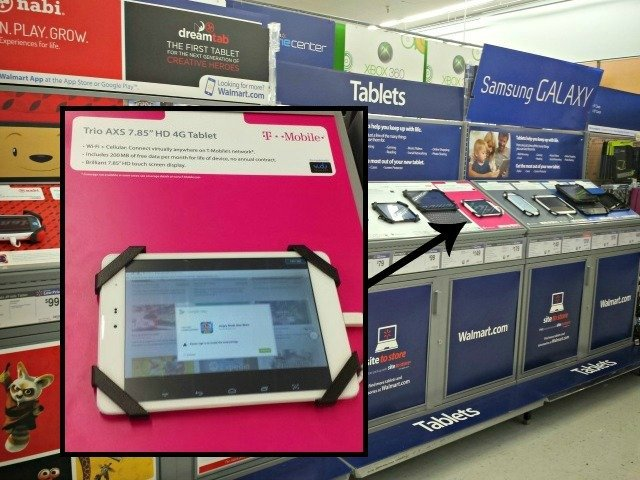 Finding the Trio tablet with free data plan at Walmart