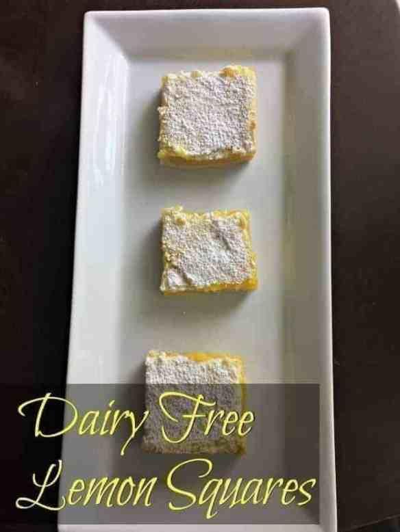 Homemade dairy free lemon squares