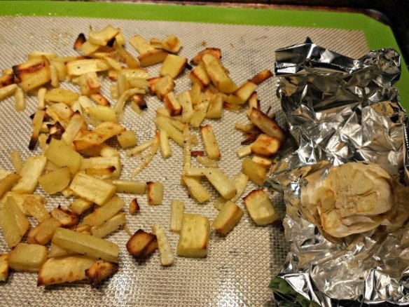 Roasted parsnips and garlic