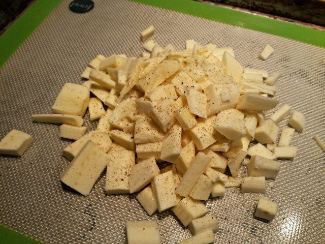 Toss parsnip chunks with olive oil salt and pepper