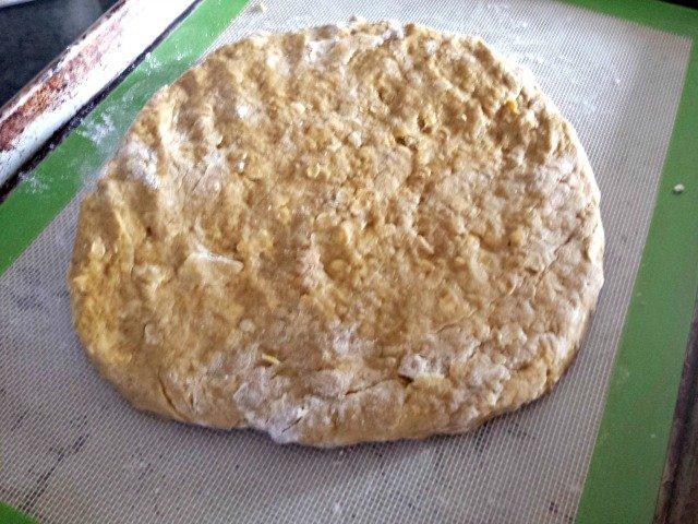 Pat your pumpkin scone dough into a rough circle