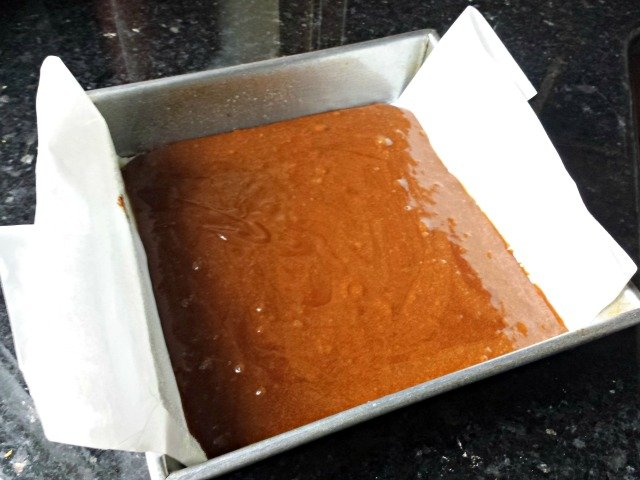 Brownie batter prepped for the oven
