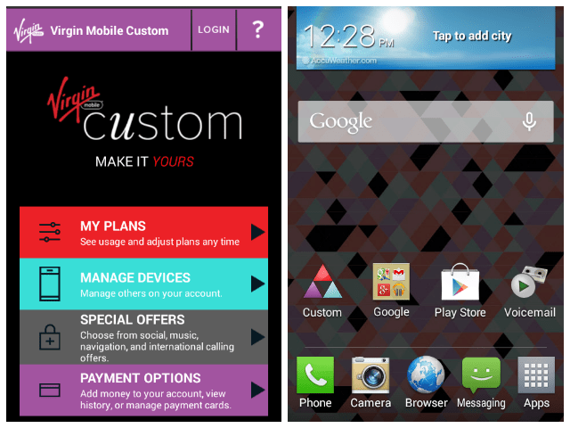 Virgin Mobile Custom app to manage cell phone plan