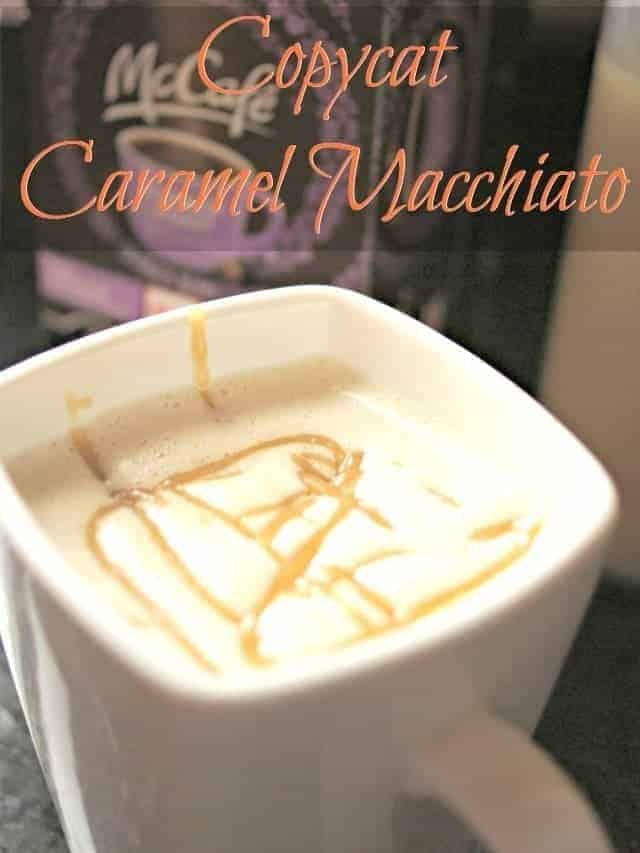 Cup of caramel macchiato made at home