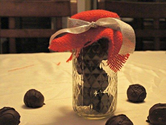 Truffles in a mason jar wrapped in burlap