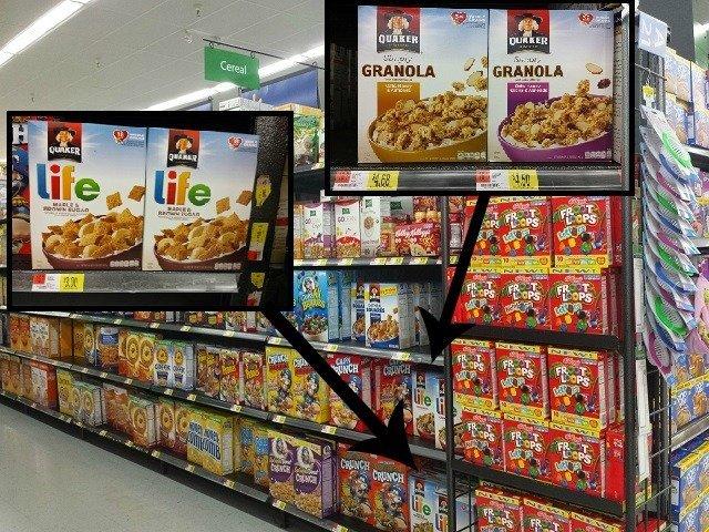 Finding quaker cereals at WAlmart
