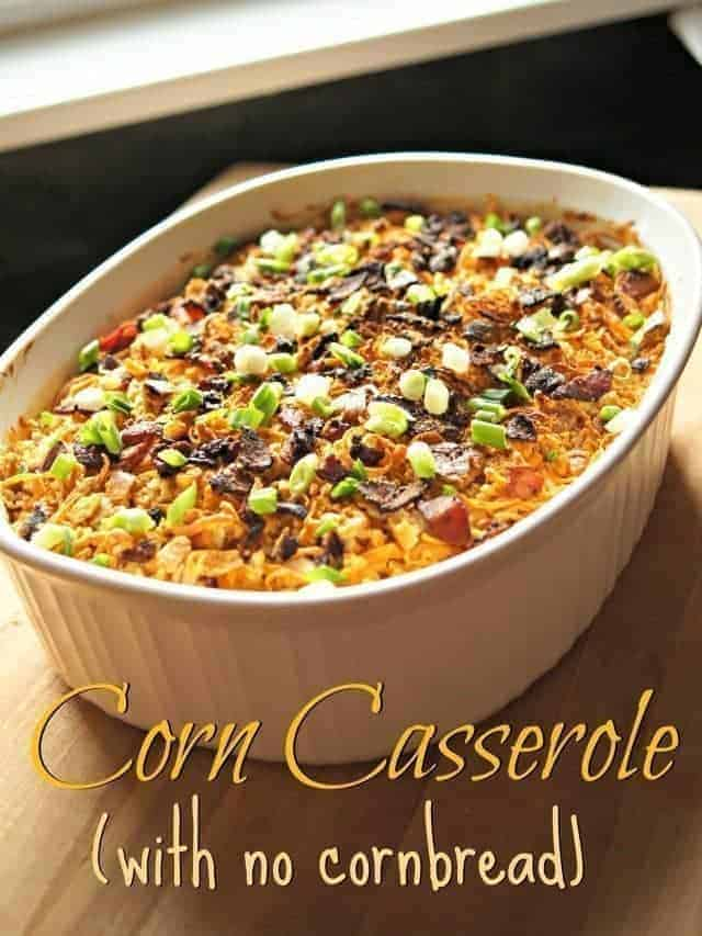 Corn casserole for serving