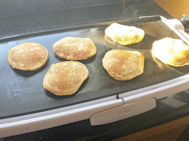 Time to flip blueberry pancakes