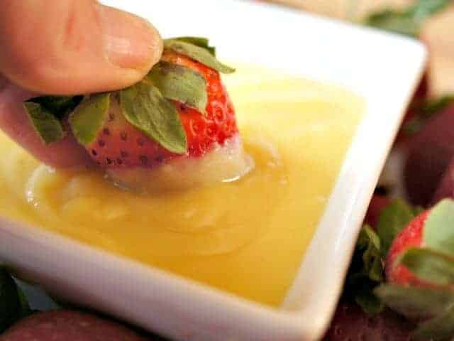 Dipping strawberries in pineapple curd recipe