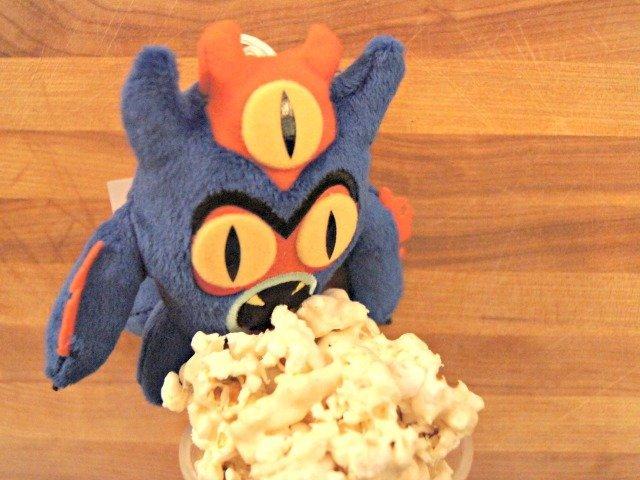 Fredzilla loves marshmallow popcorn