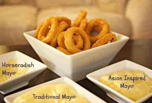 3 flavors of mayo with onion rings