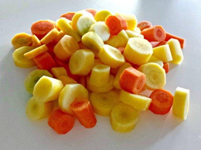 sliced rainbow carrots