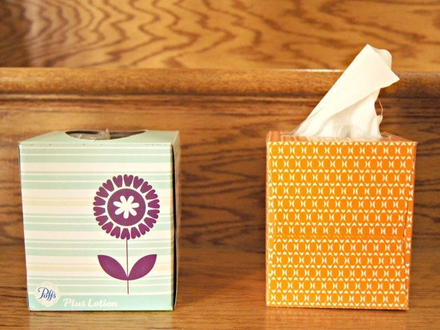 Use empty tissue boxes as garbage cans