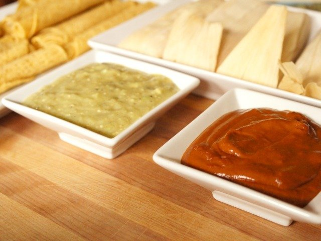 Roasted tomatillo salsa and mole for Delimex appetizers