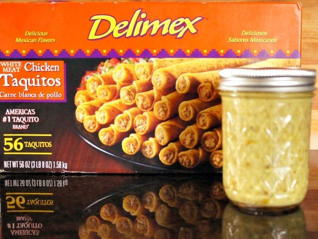 Delimex taquitos with roasted tomatillo salsa