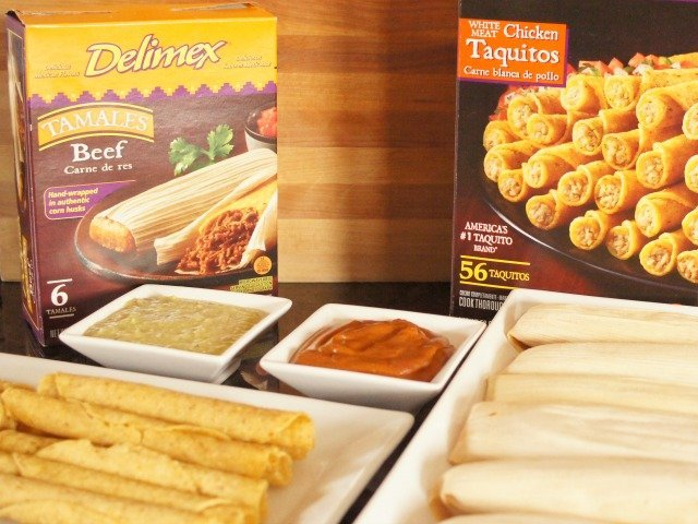 Delimex taquitos and tamales with homemade mole and roasted tomatillo salsa