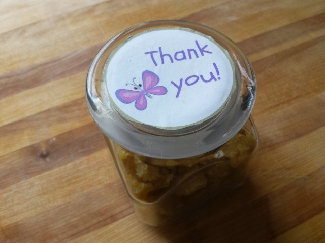 Round thank you gift tags on a mason jar gift