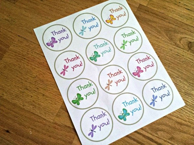 Printable of thank you card tags