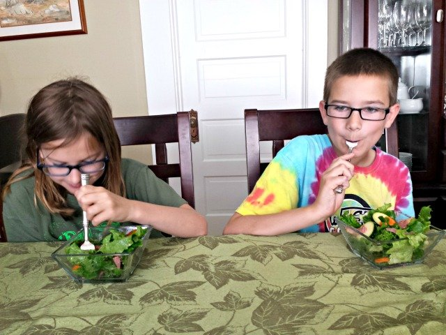 Enjoying salad from the Wendell August Waterfall salad set