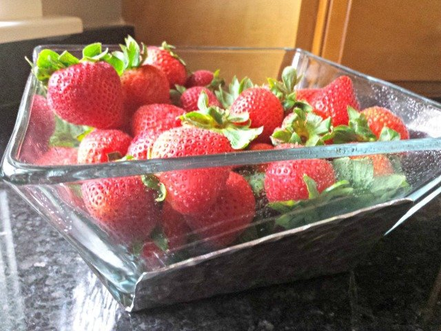 Enjoying strawberries in the Wendell August Waterfall Salad Set