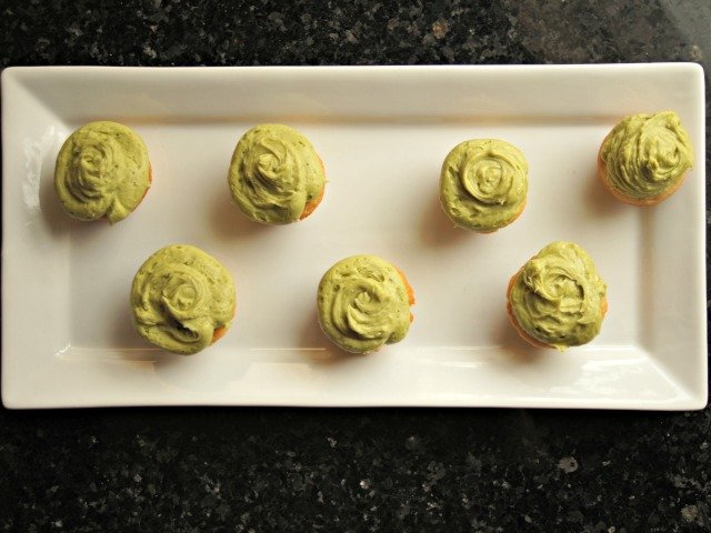 Plated green tea cupcakes with matcha frosting
