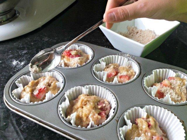 Add cinnamon vanilla sugar to homemade strawberry muffins