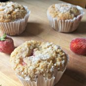 Homemade Strawberry muffins with fresh strawberries