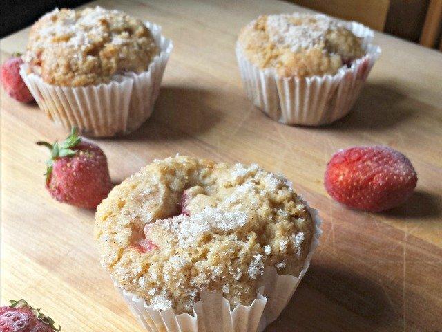 Homemade Strawberry muffins with fresh strawberries