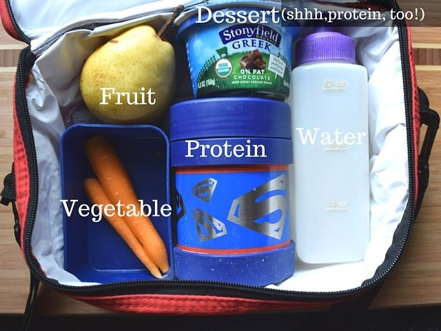 Required lunch items include a protein, a fruit, and a vegetable of some sort